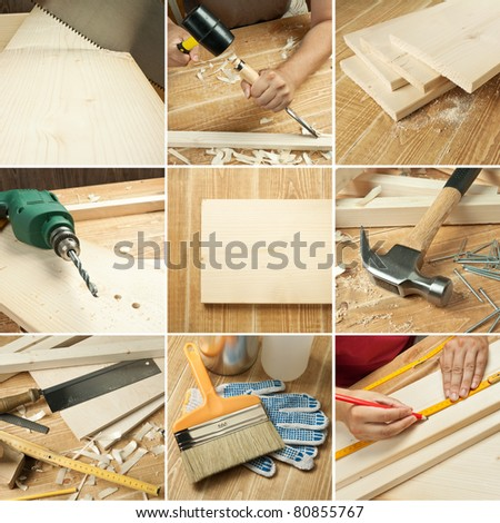 Carpentry tools, wood planks collage - stock photo