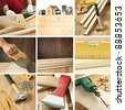 Carpentry tools, woodwork objects collage - stock photo