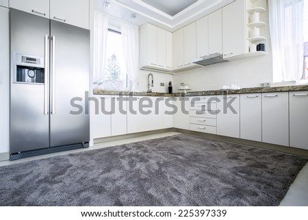 Carper on the floor in the kitchen - stock photo