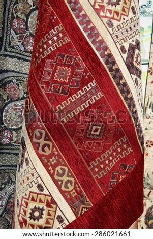 Carpet on Bazaar in Istanbul. Turkey - stock photo