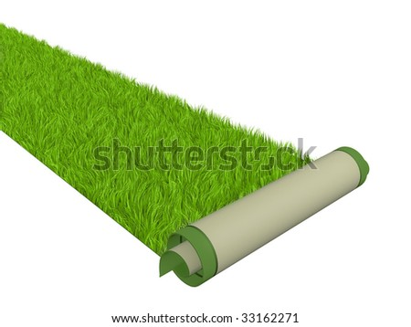 Carpet with bright green grass
