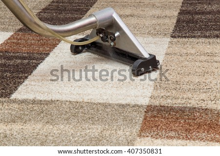 Carpets chemical cleaning with professionally extraction method. Early spring cleaning or regular clean up.