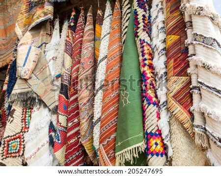 Carpets for sale in the markets of Marrakesh - stock photo