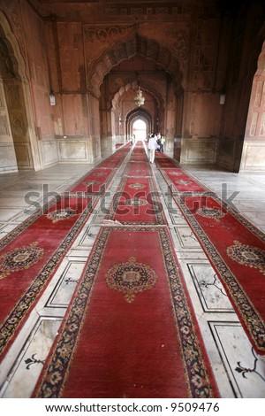 Carpets in corridor, Jama Masjid, Delhi, India - stock photo