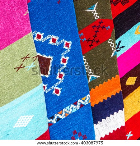 carpets in Morocco, oriental Moroccan ornamets - stock photo