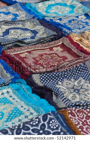 Carpets on a market in Morocco - stock photo