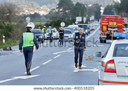 Carreço , Viana do Castelo, Portugal - February 25, 2016 : Accident with enough gravity between a bus and a car on the national highway 13 in Carreço , Portugal , February 25, 2016 .