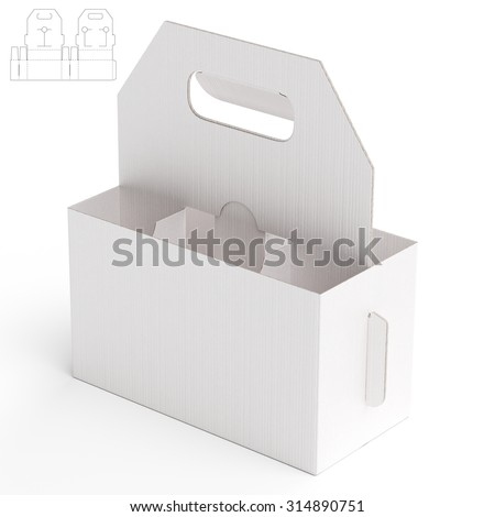 Carriage Box with Die Line Template - stock photo