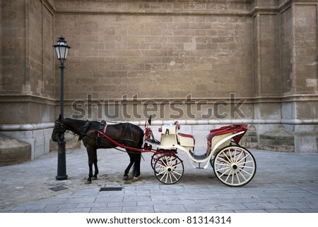 Carriage stop near Palma de Majorca town Cathedral - stock photo