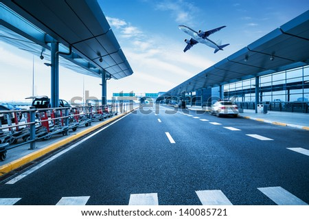 Carriageways of the Shanghai Pudong International Airport - stock photo