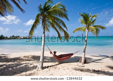 carribean - Man between two Palms in a Hammock - Martinique - stock photo