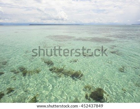 Carribean transparent waters. Texture, background