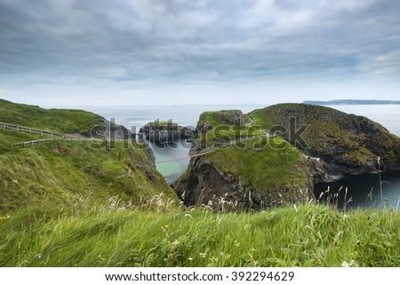Carrick-a-Rede rope bridge, County Antrim, Northern Ireland - stock photo
