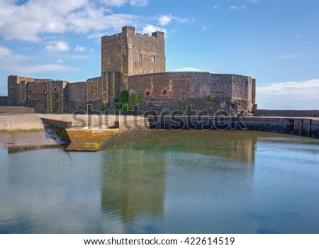 Carrickfergus Castle, a XII century Norman fortress north of Belfast, Northern Ireland  - stock photo
