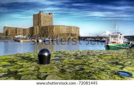Carrickfergus Castle presented in High Dynamic Range format.  Carrickfergus Castle is located in County Antrim, Ireland: just on the door setep of the Glens of Antrim.
