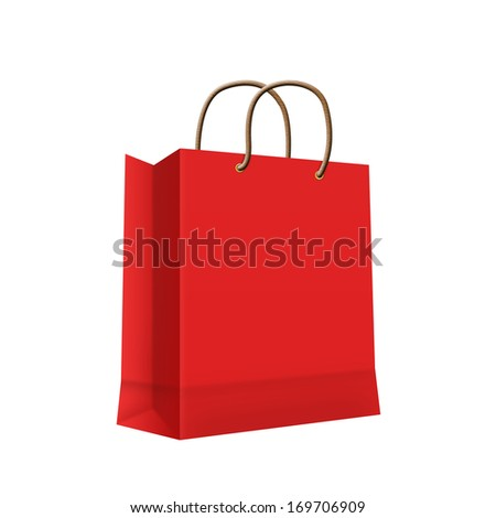 Carrier Paper Bag Red Empty