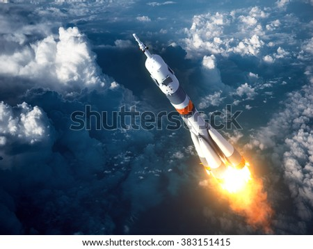Carrier Rocket Launch In The Clouds. 3D Scene.