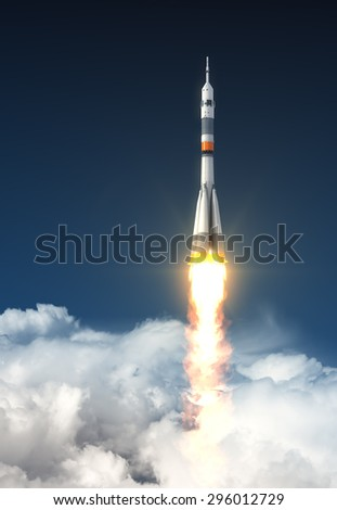Carrier Rocket Over The Clouds. 3D Scene. - stock photo