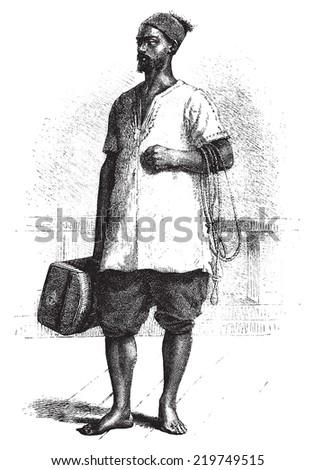 Carrier trunk, vintage engraved illustration. Le Tour du Monde, Travel Journal, (1872). - stock photo