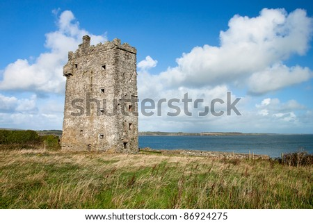 Carrigaholt Castle was built in about 1480 by the McMahons in Ireland. - stock photo