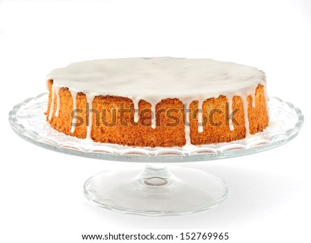 Carrot and Almond Cake, traditional Italian carrot and almond cake (torta di carote) topped with sugar glaze - stock photo