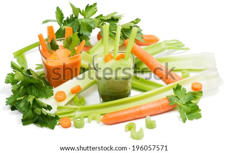 Carrot and celery juices, carrots, leaves of celery. Isolated on white background