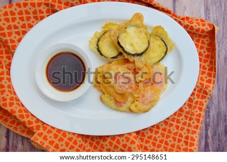 Carrot and Eggplant Tempura with Soy Sauce Dip - stock photo