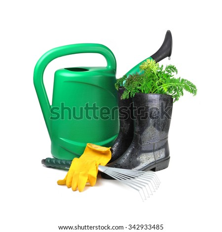 carrot and gardening tools: watering can, gloves and rubber boots  - stock photo