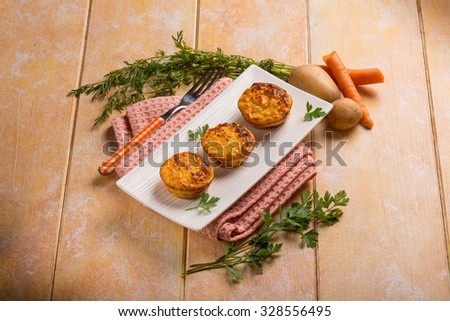 carrot and potatoes muffins - stock photo