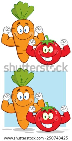 Carrot And Tomato Cartoon Mascot Characters Flexing. Raster Collection Set Isolated On White - stock photo
