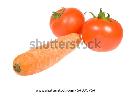 carrot and tomatos isolated on white background