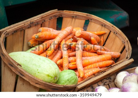 Carrot and zucchini on the market - stock photo