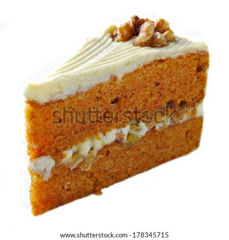 Carrot Cake isolated on white background - stock photo