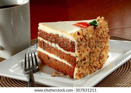 Carrot cake with coffee - stock photo