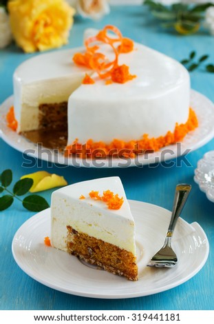 carrot cake with pecans, honey mousse, glazed. - stock photo