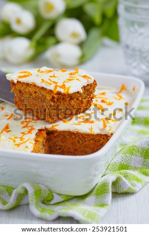 Carrot cake with walnut and almond for Easter - stock photo