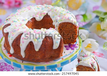Carrot cakewith walnut and almond for Easter - stock photo