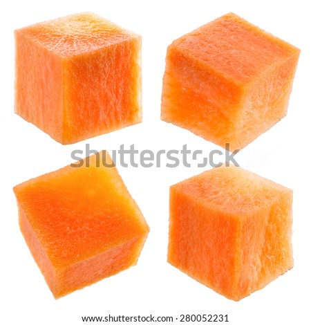 Carrot cube isolated on white. Collection. - stock photo