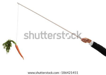 Carrot hanging on the end of angled stick - stock photo