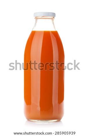 Carrot juice bottle. Isolated on white background - stock photo