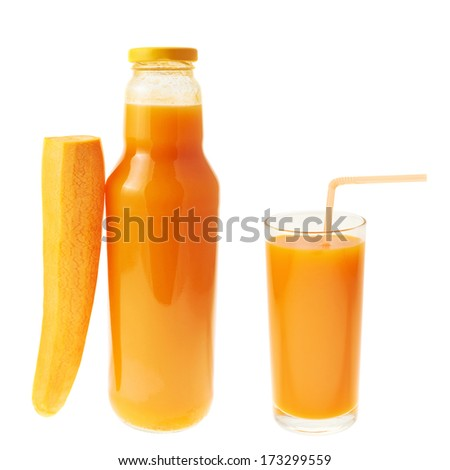 Carrot juice composition of bottle, carrot and full glass isolated over white background - stock photo