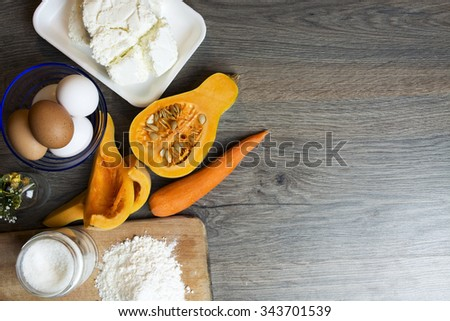 carrot pumpkin pie with cheese. ingredients for pumpkin pie - Home-Making (cooking).