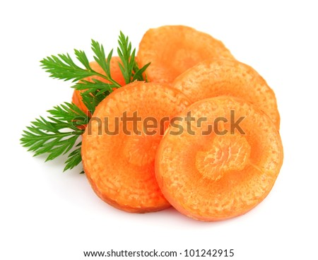 Carrot segments on a white background - stock photo