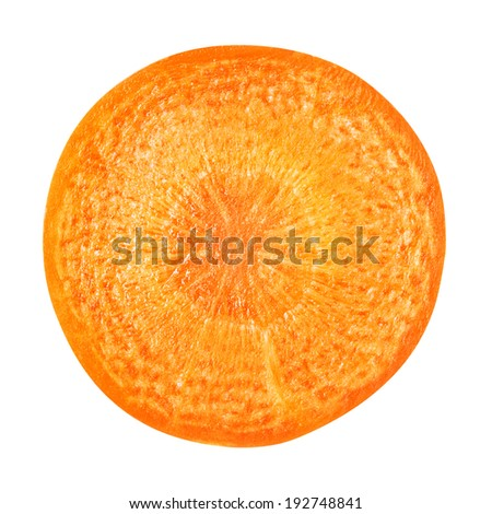 Carrot slice isolated on white. Clipping Path