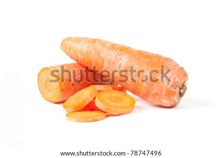 Carrot slices lying on white background isolated