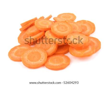 Carrot slices on white background - stock photo
