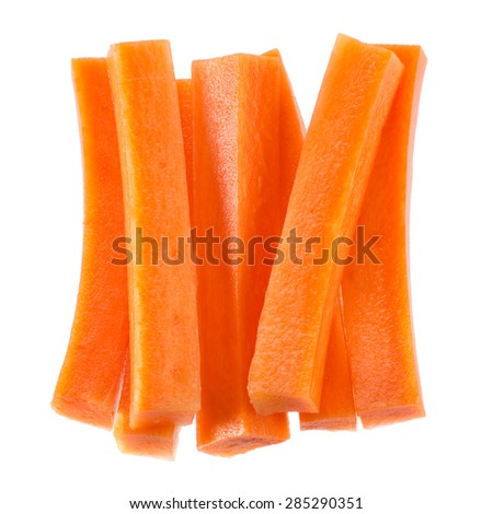 Carrot sticks isolated on white background. - stock photo