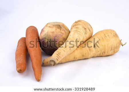 Carrot, Swede And Parsnip Isolated