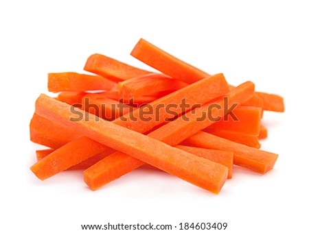 Carrot vegetable stick heap isolated on white background;  - stock photo