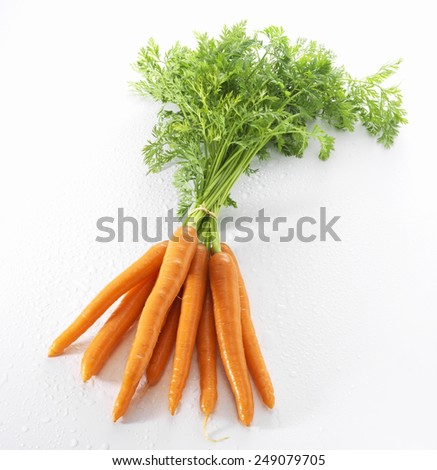 Carrot with leaves isolated on a white background - stock photo